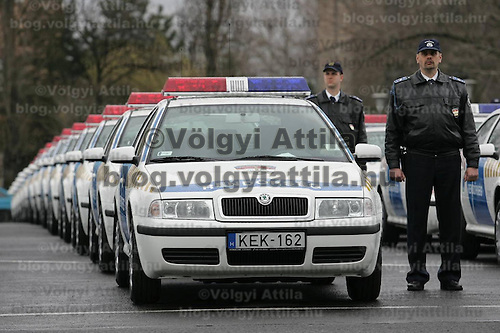 400 new police patrol cars are seen during their transfer ceremony at REBISZ center.