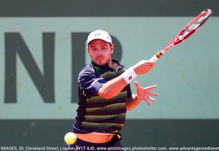 STANLINAS WAWRINKA (SWE) ..Tennis - Grand Slam - French Open- Roland Garros - Paris - Sat May 26th 2012..© AMN Images, 30, Cleveland Street, London, W1T 4JD.Tel - +44 20 7907 6387.mfrey@advantagemedianet.com.www.amnimages.photoshelter.com.www.advantagemedianet.com.www.tennishead.net