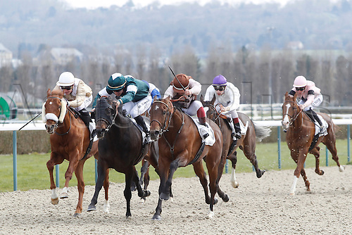08.03.2016. Deauville, France.  Race 2. De La Varenne Claiming Stakes. Winner Sterling Lines with Umberto Rispoli up and 2nd placed Brancaio with Maxime Guyon and 3rd placed Cat Ge with Tony Piccone up