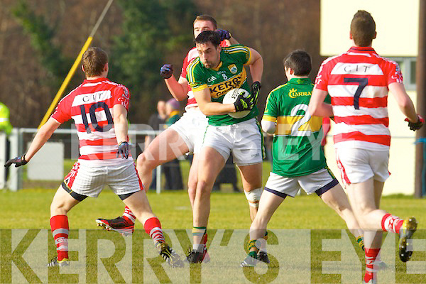 Anthony Maher  Kerry in action against Sean Finn Cork IT in the semi final of the McGrath Cup at John Mitchells Grounds on Sunday.
