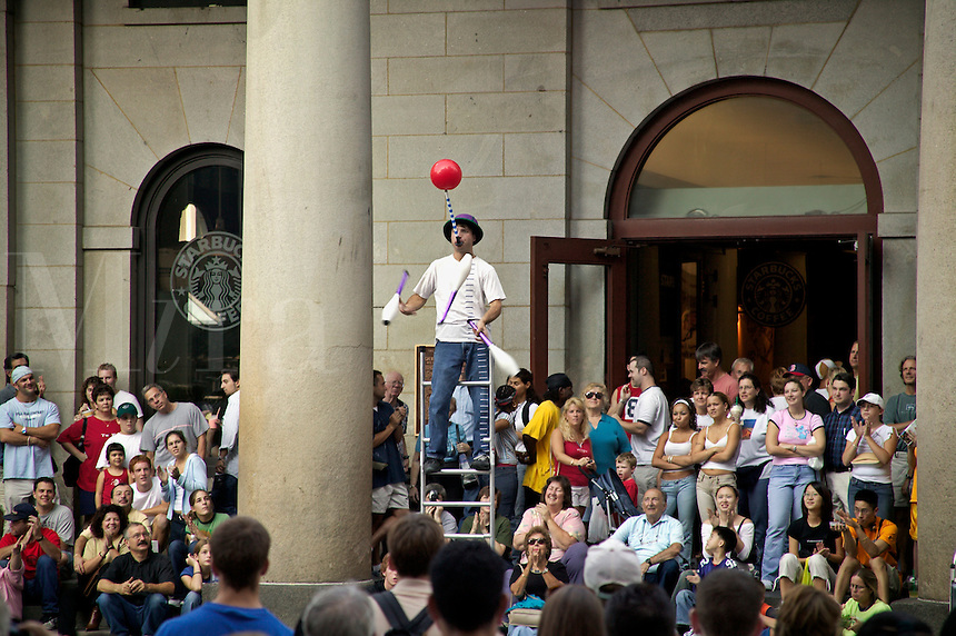 Busker or street performer at Faneuil Hall, Boston, M
