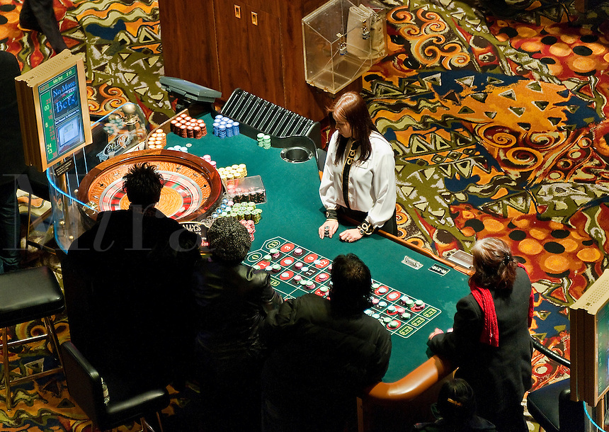 Roulette table in a casino.