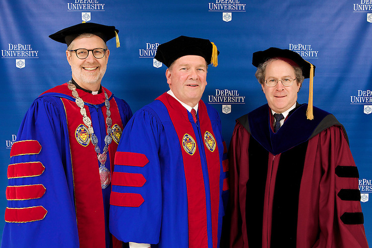 The Rev. Dennis H. Holtschneider, C.M., president of DePaul (left), honorary degree recipient and commencement speaker Thomas M. Durkin, United States District Judge and Gregory Mark, dean of the College of Law. DePaul University College of Law held its commencement May 18, 2014 at the Rosemont Theatre in Rosemont, IL. Some 313 students earned law degrees — 295 Juris Doctors and 18 Master of Laws degrees, in health law, intellectual property, international law and taxation. (DePaul University/Jeff Carrion)