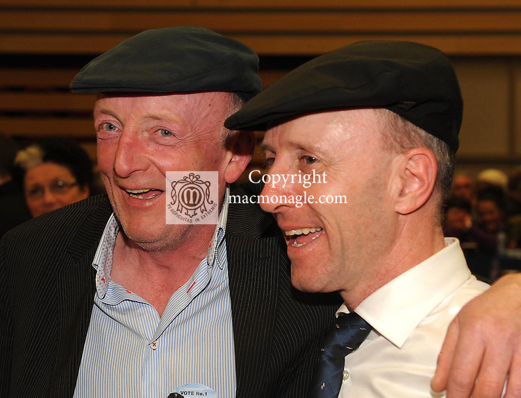 27-02-2016: Deputy Michael Healy-Rae with supporter Eddie Carmody, Tralee,   at the 2016 general election count for the  Kerry constituency in Killarney Sports Centre on Saturday night. Picture: Eamonn Keogh  (macmonagle.com)