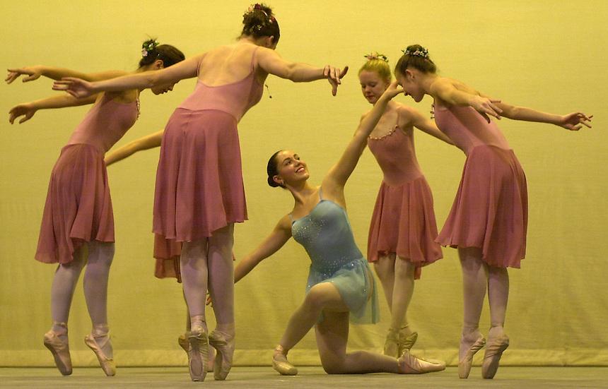 A troop of ballet dancers performs in Durango in November, 2003.