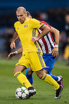 Timofei Kalachev of FC Rostov competes for the ball with Yannick Ferreira Carrasco of Atletico de Madrid during their 2016-17 UEFA Champions League match between Atletico Madrid and FC Rostov at the Vicente Calderon Stadium on 01 November 2016 in Madrid, Spain. Photo by Diego Gonzalez Souto / Power Sport Images