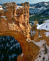 Morning  light Natural Bridge in winter; Bryce Canyon National Park, UT