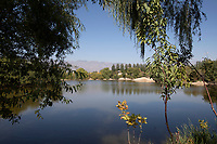 China - Ningxia - A natural lake located in Chateau Zhihui Yuanshi, one of the most beautiful wineries in Ningxia.<br />