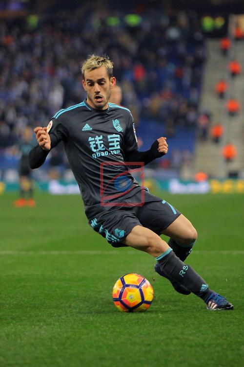 League Santander 2016/2017. Game: 22.<br /> RCD Espanyol vs Real Sociedad: 1-2.<br /> Juanmi.