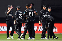 Blackcaps bowler Ish Sodhi celebrates the wicket of England's Ben Stokes with his team mates during the Third ODI game between Black Caps v England, Westpac Stadium, Wellington, Saturday 03rd March 2018. Copyright Photo: Raghavan Venugopal / © www.Photosport.nz 2018