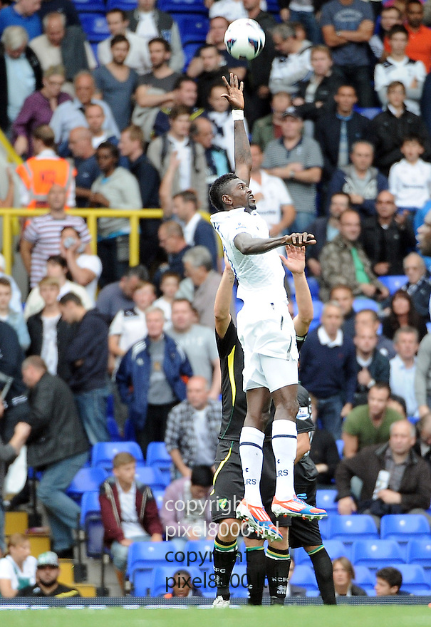 Emmanuel Adebayor of Tottenham Hotspur in action during the Barclays Premier League match between Tottenham Hotspur and Norwich City at White Hart Lane on September 1, 2012 in London, England. Picture Zed Jameson/pixel 8000 ltd.