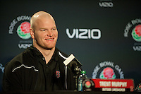 LOS ANGELES, CA--Trent Murphy sits for media interviews at the LA Hotel during the the 99th annual Rose Bowl festivities.
