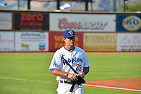 Joseph Meggs (23) of the Ogden Raptors prior to the game against the Idaho Falls Chukars in Pioneer League action at Lindquist Field on July 26, 2014 in Ogden, Utah.  (Stephen Smith/Four Seam Images)