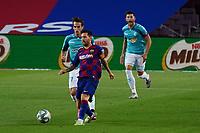16th July 2020; Camp Nou, Barcelona, Catalonia, Spain; La Liga Football, Barcelona versus Osasuna; Leo Messi breaks forward and gets his shot on goal