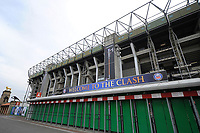 A general view of Clash branding outside Twickenham Stadium. The Clash, Aviva Premiership match, between Bath Rugby and Leicester Tigers on April 7, 2018 at Twickenham Stadium in London, England. Photo by: Patrick Khachfe / Onside Images
