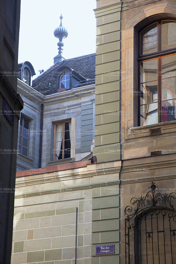 "Switzerland. Geneva. The "" rue des Granges "" is a narrow street in the old city. The "" Hôtel de Sellon "" stands on number 2 of the"" rue des Granges "". The mansion, built 300 years ago, houses the Museum and Foundation Zoubov, of the deceased russian countess Tatiana Zoubov. The state of Geneva is today the owner of the mansion and hosts there its formal receptions. 12.03.2010  © 2010 Didier Ruef"