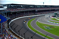 Verizon IndyCar Series<br /> Indianapolis 500 Race<br /> Indianapolis Motor Speedway, Indianapolis, IN USA<br /> Sunday 28 May 2017<br /> Turn One: Helio Castroneves, Team Penske Chevrolet, Ryan Hunter-Reay, Andretti Autosport Honda, Alexander Rossi, Andretti Herta Autosport with Curb-Agajanian Honda, Fernando Alonso, McLaren-Honda-Andretti Honda, Tony Kanaan, Chip Ganassi Racing Teams Honda<br /> World Copyright: F. Peirce Williams<br /> LAT Images