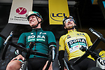 Pascal Ackermann and race leader Yellow Jersey Maximilian Schachmann (GER) Bora-Hansgrohe at sign on before Stage 2 of the 78th edition of Paris-Nice 2020, running 166.5km form Chevreuse to Chalette-sur-Loing, France. 9th March 2020.<br /> Picture: ASO/Fabien Boukla | Cyclefile<br /> All photos usage must carry mandatory copyright credit (© Cyclefile | ASO/Fabien Boukla)