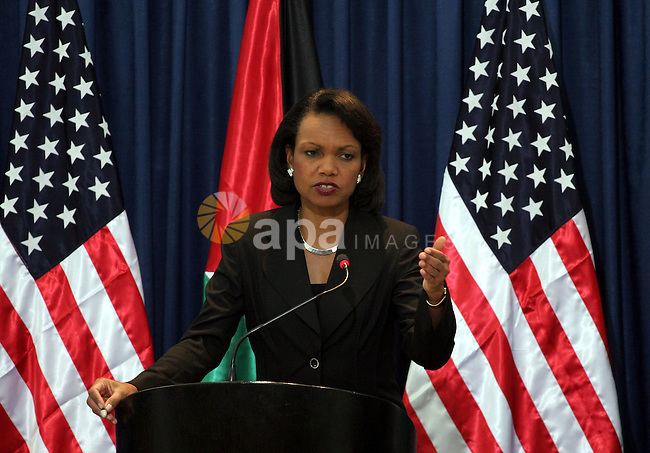 Palestinian President Mahmoud Abbas, and U.S. Secretary of State Condoleezza Rice hold a joint  press conference at Abbas' headquarters in the West Bank city of Ramallah. Rice made it clear Sunday she is unhappy about Israel's ongoing construction in areas Palestinians want for their future state, giving the issue prominent mention ahead of meetings with Israeli leaders. In what has become a near-monthly ritual, Rice is in the region to prod Israelis and Palestinians closer to a final peace deal as the chances of meeting the year-end target set by the sides appear to be slipping away.