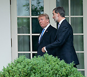 United States President Donald J. Trump walks with with King Felipe VI of Spain to hold a meeting at The White House in Washington, DC, June 19, 2018. Chris Kleponis/ CNP