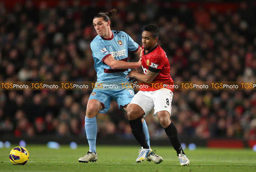 Anderson of Manchester United and Andy Carroll of West Ham - Manchester Utd vs West Ham Utd, Barclays Premier League at Old Trafford, Manchester - 28/11/12 - MANDATORY CREDIT: Rob Newell/TGSPHOTO - Self billing applies where appropriate - 0845 094 6026 - contact@tgsphoto.co.uk - NO UNPAID USE.
