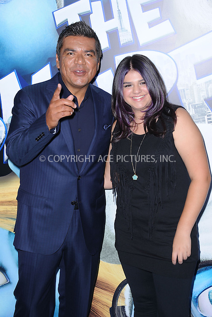 WWW.ACEPIXS.COM . . . . . .July 24, 2011...New York City....George Lopez and Mayan Lopez attend the premiere of 'The Smurfs' at the Ziegfeld Theater on July 24, 2011 in New York City....Please byline: KRISTIN CALLAHAN - ACEPIXS.COM.. . . . . . ..Ace Pictures, Inc: ..tel: (212) 243 8787 or (646) 769 0430..e-mail: info@acepixs.com..web: http://www.acepixs.com .