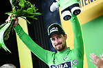 Peter Sagan (SVK) Bora-Hansgrohe retains the Green Jersey at the end of Stage 8 of the 2018 Tour de France running 181km from Dreux to Amiens Metropole, France. 14th July 2018. <br /> Picture: ASO/Pauline Ballet | Cyclefile<br /> All photos usage must carry mandatory copyright credit (&copy; Cyclefile | ASO/Pauline Ballet)