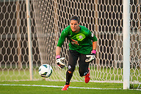 FC Kansas City goalkeeper Nicole Barnhart (18). Sky Blue FC and FC Kansas City played to a 2-2 tie during a National Women's Soccer League (NWSL) match at Yurcak Field in Piscataway, NJ, on June 26, 2013.