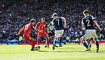 England's Alex Oxlade-Chamberlain scoring his sides opening goal during the FIFA World Cup Qualifying match at Hampden Park Stadium, Glasgow Picture date 10th June 2017. Picture credit should read: David Klein/Sportimage