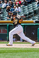 Juan Graterol (34) of the Salt Lake Bees at bat against the Sacramento River Cats in Pacific Coast League action at Smith's Ballpark on May 01, 2016 in Salt Lake City, Utah. Sacramento defeated Salt Lake 16-6.  (Stephen Smith/Four Seam Images)