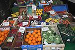 Greengrocer display fresh fruit and vegetables