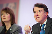 Harriet Harman, Lord Peter Mandelson, Labour Party election campaign press conference, London.