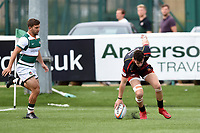 Joe Goodchild of the Dragons runs in the opening try. Pre-season friendly match, between Ealing Trailfinders and the Dragons on August 11, 2018 at the Trailfinders Sports Ground in London, England. Photo by: Patrick Khachfe / Onside Images