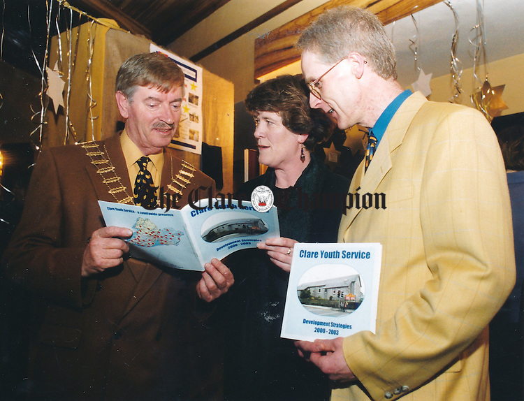 Sean Hillery, chairman, Clare County Council; Mary Cashin, chairman, Clare Youth Service and Tony Murphy, chief executive, National Youth Federation, at the launch of Clare Youth Centre's development strategies 2000-2003 at The Old Ground Hotel - April 14, 2000. Photograph by Eamon Ward