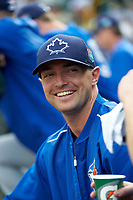 Toronto Blue Jays pitcher J. A. Happ in the dugout during a Spring Training game against the Pittsburgh Pirates on March 3, 2016 at McKechnie Field in Bradenton, Florida.  Toronto defeated Pittsburgh 10-8.  (Mike Janes/Four Seam Images)