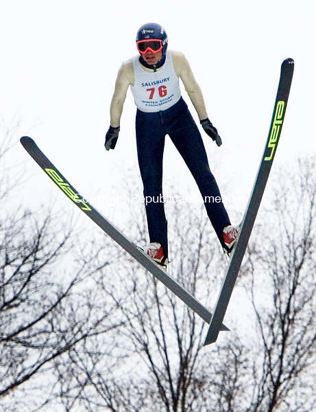SALISBURY CT. 08 February 2014-020914SV19-#76 Tyler Smith makes a jump during the Eastern United States Ski Jumping Championships in Salisbury Sunday. Smith won the event Friday, Saturday, Sunday and the long jump competition on Sunday.<br /> Steven Valenti Republican-American