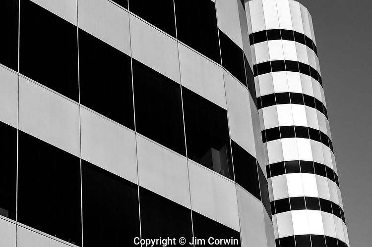 Metroploitan Building downtown Seattle abstract views of building and glass windows with reflections