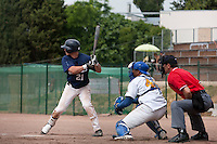 23 May 2009: Yann Dal Zotto of Savigny is seen at bat during the 2009 challenge de France, a tournament with the best French baseball teams - all eight elite league clubs - to determine a spot in the European Cup next year, at Montpellier, France. Savigny wins 4-1 over Senart.