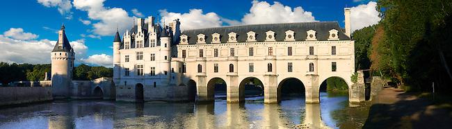 The Chateau de Chenonceau at sunset designed by French Renaissance architect Philibert de l'Orme 1555 by  to span the River Char. Loire Valley. Chenonceaux,  Indre-et-Loire département France.
