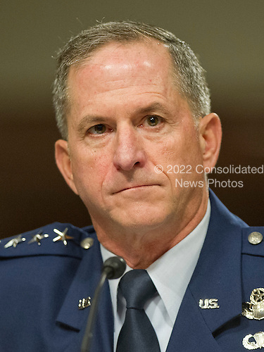 United States Air Force General David L. Goldfein testifies before the US Senate Committee on Armed Services on his reappointment to the grade of General and to be Chief Of Staff of the US Air Force on Capitol Hill in Washington, DC on Thursday, June 16, 2016.<br /> Credit: Ron Sachs / CNP
