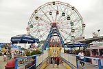 Brooklyn, New York, USA. 10th August 2013.  The Wonder Wheel looms over Luna Park, during the 3rd Annual Coney Island History Day celebration.