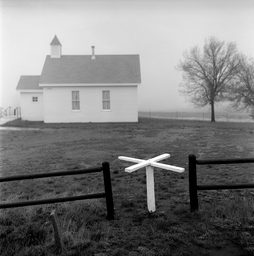Church, Virginia Dale, Colo., on a foggy afternoon.