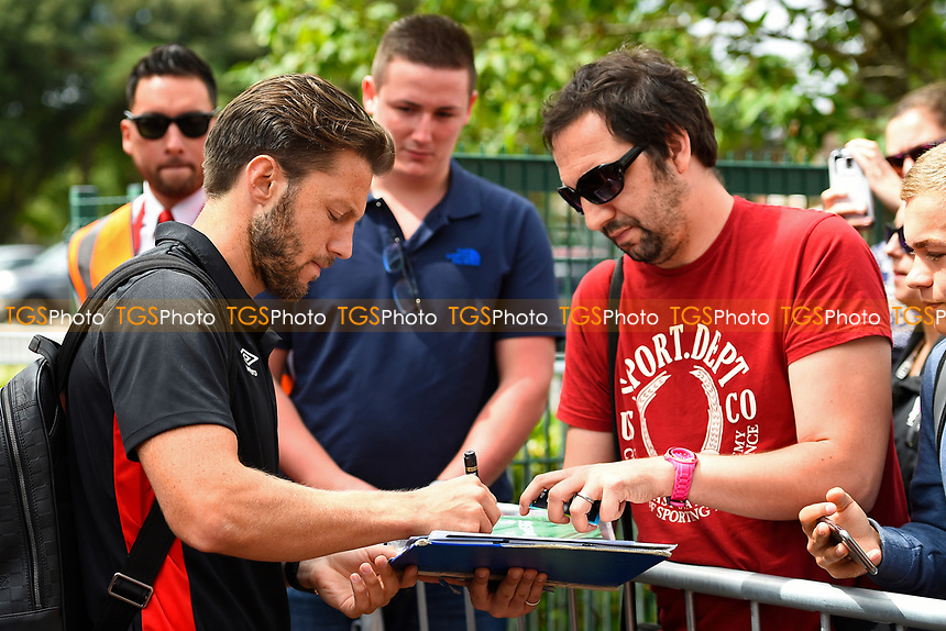 Harry Arter of AFC Bournemouth signs an autograph during AFC Bournemouth vs Valencia CF, Friendly Match Football at the Vitality Stadium on 30th July 2017