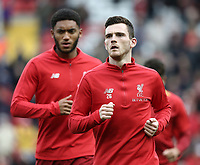 Liverpool's Andrew Robertson and Joe Gomez during the pre-match warm-up <br /> <br /> Photographer Rich Linley/CameraSport<br /> <br /> The Premier League - Liverpool v Manchester City - Sunday 7th October 2018 - Anfield - Liverpool<br /> <br /> World Copyright &copy; 2018 CameraSport. All rights reserved. 43 Linden Ave. Countesthorpe. Leicester. England. LE8 5PG - Tel: +44 (0) 116 277 4147 - admin@camerasport.com - www.camerasport.com