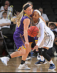 SIOUX FALLS, SD - MARCH 6:  Emily Clemens #15 of Western Illinois and Kaylan Mayberry #1 of Oral Roberts dance after a loose ball in the 2016 Summit League Tournament. (Photo by Dick Carlson/Inertia)