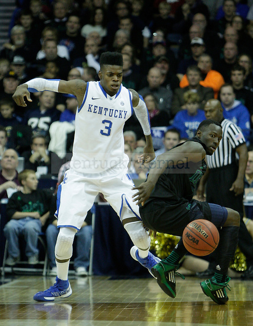 UK forward Nerlens Noel goes after the ball during the second half of the UK men's basketball game v. University of Notre Dame in Purcell Pavilion in South Bend, In., on Thursday, November 29, 2012. Photo by Genevieve Adams | Staff