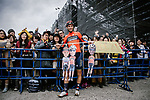 Vincenzo Nibali (ITA) Bahrain-Merida poses with fans before the start of the 2018 Saitama Criterium, Japan. 4th November 2018.<br /> Picture: ASO/Pauline Ballet | Cyclefile<br /> <br /> <br /> All photos usage must carry mandatory copyright credit (&copy; Cyclefile | ASO/Pauline Ballet)