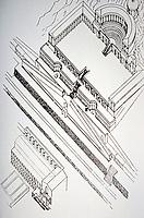 Axonometric architectural rendering of the Sanctuary of Fortuna Primigenia, Palestrina, Italy, AD 80