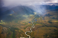 Aerial of a meanding river in the Brooks Range mountains, Arctic, Alaska.
