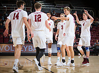 STANFORD, CA - January 5, 2019: Kyler Presho, Jordan Ewert, Stephen Moye, Eric Beatty, Jaylen Jasper, Paul Bischoff at Maples Pavilion. The Stanford Cardinal defeated UC Santa Cruz 25-11, 25-17, 25-15.
